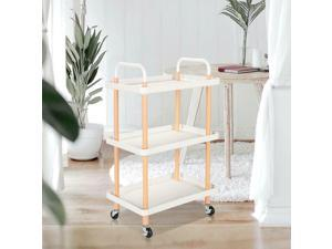 3-Tier Rolling Utility Cart Shelf  of Wooden Trolley Serving Cart,Home Kitchen