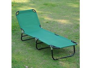 Beach Lounge Chair Sun Lounger Bed Portable Folding Green