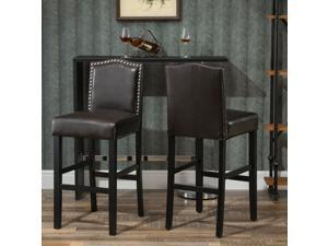 2 Pieces Retro Style Bar Stools Tall Chair with Back, Footrest for Home Pub