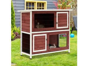 """48"""" 2 Story Wooden Rabbit Hutch Elevated Bunny Cage  with Enclosed Run"""