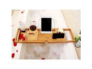 NEW Bamboo Bathtub Caddy Tray with Extending Sides and Reading Rack For Bathroom