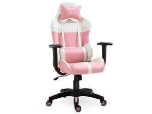 Office Chair Racing Gaming Chair with Wheels, Pillow, Pink and White
