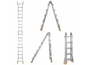 Aluminum Ladder Folding Step Ladder MultiPurpose Anti-Slip 300Lbs Capacity 17FT