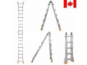 17FT Aluminum Ladder Folding Step Ladder MultiPurpose Anti-Slip 300Lbs Capacity