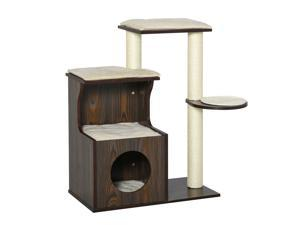 Cat Tree Activity Center w/ Scratching Posts Sisal Carpet Cushions Brown