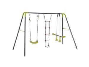 A Frame Kids Metal Swing Set Swing Chair  Glider Set Climbing Ladder Set