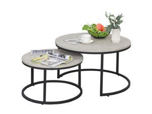 2 Piece Versle Stack Design Coffee Table Set with Metal Base Home