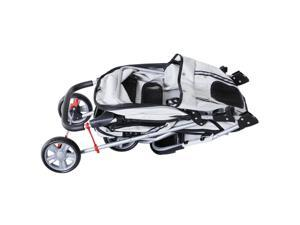 3 Wheels Pet Stroller Folding Dog Carrying Cart w/ Brake Canopy Travel