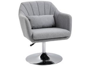 Modern Swivel Linen Chair with Lumbar Support Steel Base Midback