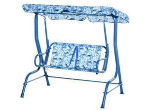 "2-Seat Kid Canopy Swing Chair Seat Belt Awning 43.25"" x 27.5"" x 43.25"""