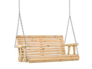 2 Seater Wooden Swing Chair Garden Bench w/ Cup Holder Hanging Chains