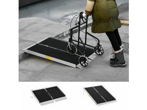 Portable Wheelchair Ramp Aluminum Threshold Singlefold w/ Carrying Handle