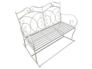2 Seater Metal Garden Bench Outdoor Rocking Chair Loveseat White