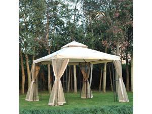 10x10ft Garden Gazebo Po Canopy Tent Beige