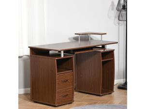 Computer Office Desk PC Table Workston with  Keyboard Tray, Drawers, Brown
