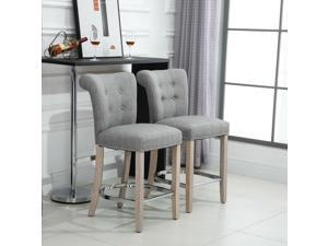 2 PCs Counter Bar Stools Dining Chair w/ Footrest, Solid wood leg Home Pub, Grey