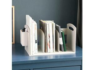 Desktop Plastic Bookcase with 3 Compartments  1 Pen Holder White For Home Study