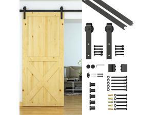 6.6ft Carbon Steel Wood Barn Door Hardware Kit Sliding Track Set Kit Wall Mount