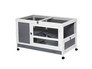 """Wooden Pet House Elevated Rabbit Hutch Bunny Cage 40.25"""" x 23.5"""" x 25"""""""