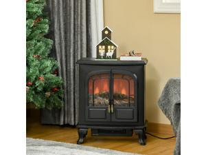 Freestanding Electric Fireplace Stove Heater with LED Fire Flame Effect Black