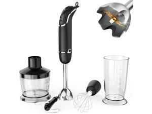 KOIOS 800-Watt/ 12-Speed Immersion Hand Blender(Titanium Reinforced), Turbo for Finer Results, 4-in-1 Set Includes BPA-Free Food Chopper / Egg Beater / Beaker, Ergonomic Grip, Detachable