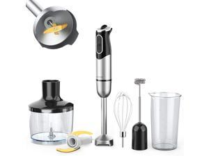 KOIOS 800W Immersion Hand Blender, Multifunctional 5-in-1 Low Noise Stick Mixer, 9-Speed, Stainless Steel, Titanium Plated, 600ml Mixing Beaker, 800ml Chopper, Egg Whisk and Milk Frother