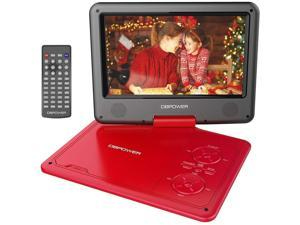 "DBPOWER 11.5"" Portable DVD Player, 5-Hour Built-in Rechargeable Battery, 9"" Swivel Screen, Support CD/DVD/SD Card/USB, with Remote control, 1.8M Car Charger and Power Adaptor (Red)"