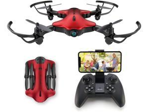 Spacekey FPV Wi-Fi Drone with Camera 1080P FHD, Drone for Kids, Real-time Video Feed, Great Drone for Beginners, Quadcopter Drone with Altitude Hold, One-Key Take-Off, Landing Foldable Arms (Red)