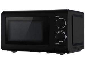 ZOKOP Retro Countertop Microwave Oven, 0.7 Cu. Ft, 700W Mechanical Compact Microwave Oven 6 Micro Power Settings, Glass Turntable and Viewing Window, ETL Certification (Black)