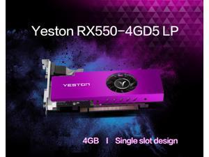 Yeston AMD Radeon RX 550 Graphics Card, 4GB 128-Bit GDDR5 PCI Express 3.0 x 8, VGA/HDMI/DVI-D Tri-ports, DirectX 12, OpenGL 4.5, Low Profile GPU, Desktop Video Card