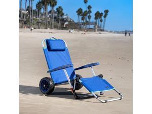 Mac Sports 2-in-1 Beach Day Folding Lounge Chair+Cargo Cart for Outdoors Sunbathing | Sun Chair, Tanning Chair, Portable, Lightweight, Lounger for Patio, Collapsible with All-Terrain Wheels | Blue