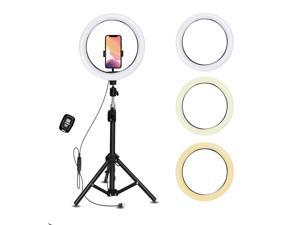 """10.2"""" Selfie Ring Light with 63"""" Extendable Tripod Stand & Flexible Phone Holder, 3 Color Modes, Bluetooth Remote Shutter for Live Stream/Makeup/YouTube Video/Photography"""