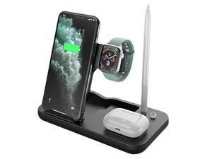 4 In 1charging Bock,Wireless Charger,Wireless Charging Stand,Charging Board,Charging Base,Qi-Certified Fast Charging Station,Compatible Apple Watch,Airpods Pro,Iphone 11/12/12pro/Xs/Xr/Xs Max/8 Plus