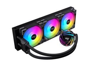 aigo AT360 360mm CPU Liquid Cooler AIO RGB Water Cooling System ARGB Radiator with 120mm PWM Fans for Intel LGA 1200/115X/20XX for AMD AM4/AM3+/AM3 Black