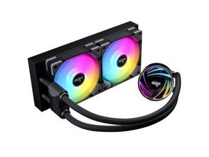 aigo AT240 240mm CPU Liquid Cooler AIO RGB Water Cooling System ARGB Radiator with 120mm PWM Fans for Intel LGA 1200/115X/20XX for AMD AM4/AM3+/AM3 Black