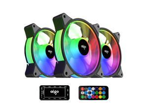 aigo AR12 3-Pack 120mm RGB Case Fan 3 Pin 5V ARGB Addressable Motherboard SYNC Cooling SATA Interface PC Fans with Controller for Computer Case