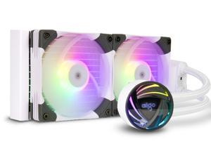 aigo AT240 240mm CPU Liquid Cooler AIO RGB Water Cooling System ARGB Radiator with 120mm PWM Fans for Intel LGA 1200/115X/20XX for AMD AM4/AM3+/AM3 White