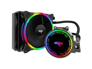 aigo AC120 CPU Liquid Cooler All-in-ONE Water Cooling System LED Radiator 120mm PWM Fans for Intel LGA 2066/2011/1200/115x for AMD AM4/AM3+/AM3 (AC120)