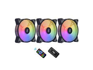 aigo AR12 3-Pack 120mm ARGB Case Fan ARGB Addressable Motherboard SYNC Cooling SATA Interface PC Fans with Controller for Computer Case