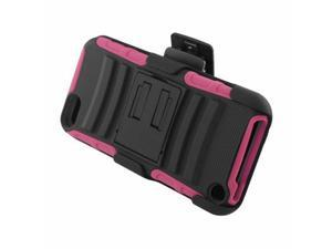 For  iPod Touch 5th Gen Armor Hybrid Stand Holster Case Black/Hot Pink