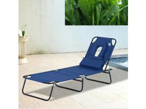 Adjustable Garden Chaise Lounger Reclining Camp Bed Reading Hole Foldable Blue