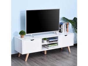 TV Stand Shelf Media Entertainment Center Modern Living Room Elegent Style White
