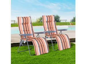 Set of 2 Sun Lounger Recliner Reclining Lounge Bed Cushioned Seat Foldable