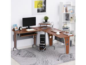 L-Shaped Corner Computer Office Table PC Desk Workstation with  Keyboard Tray