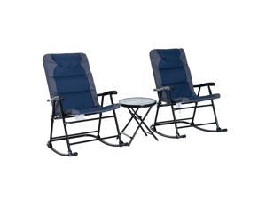 3pc Folding Outdoor Rocking Chair and Table Set Po Bistro Set Yard