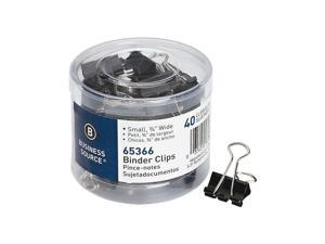 Business Source Binder Clips, Black, Small 0.8'' x 0.38'', Steel, 40 / Pack