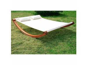 Double Rocking Hammock Swing Chair Sun Lounger w/ Curved Wood Stand Outdoor Yard