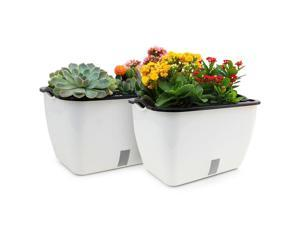 18.3 Inch Self Watering Planter Pot Rectangle Plastic Plant Pot Visual Water