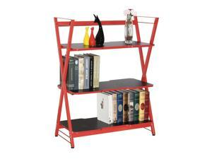3-Tier Gaming Display Shelves, Home Office Storage Rack, Red - 82x 40 x 108 cm