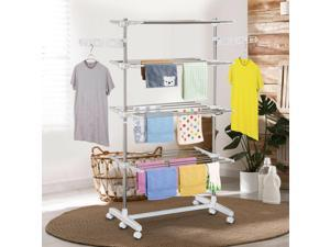 Rolling Foldable Clothes Rack Heavy-Duty Laundry Drying Rack Towel Holder